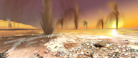 Artist's rendition of geysers on the South Pole of Mars – Image credit; Arizona State University/Ron Miller