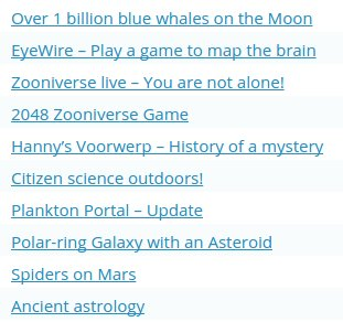 Top 10 most read Daily Zooniverse posts in order