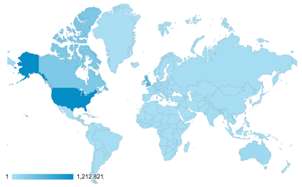 International Visits to Zooniverse Home, 2010-2015