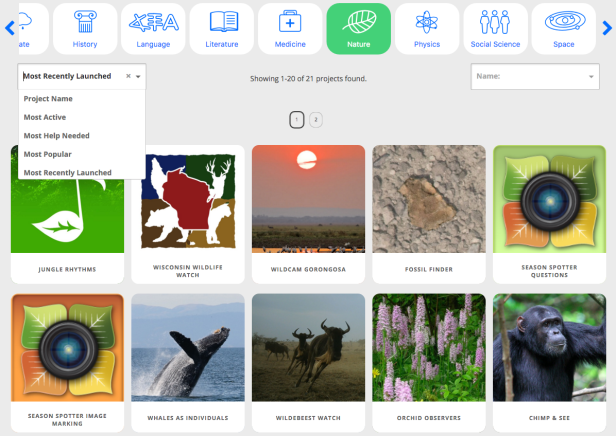 Screenshot of New Zooniverse Projects Page