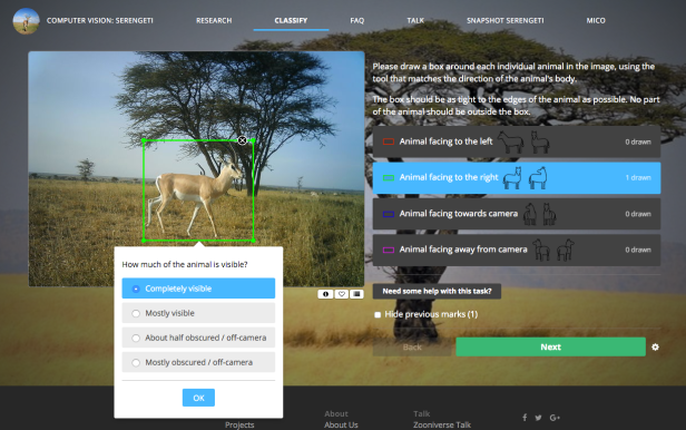 Screenshot of Snapshot Serengeti: Computer Vision Project