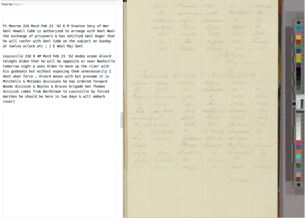A page from one of the fully transcribed ledgers, showing the consensus text on the left.