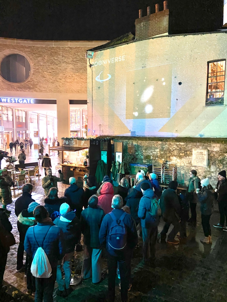 A crowd for Enter the Zooniverse at Oxford's Christmas Lights Festival this weekend